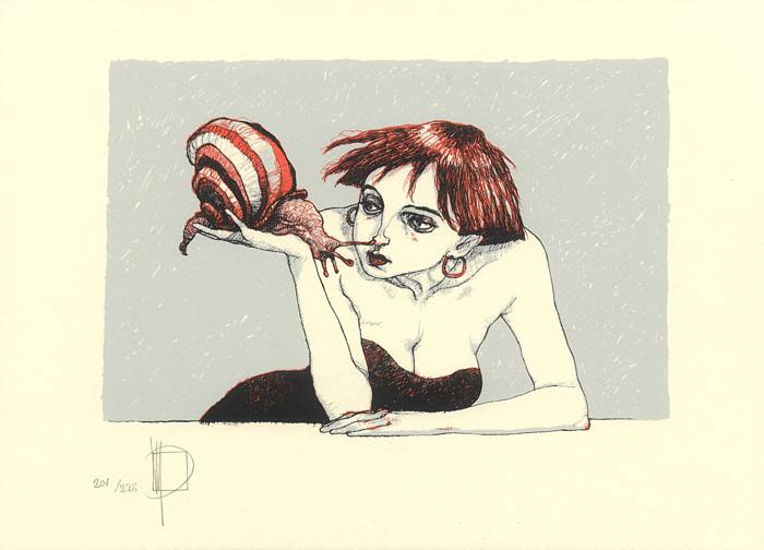 «Woman with snail» / silk screen print