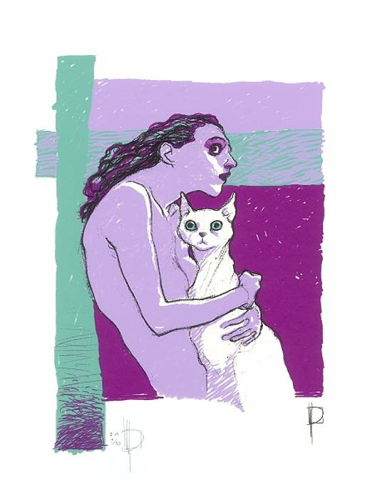 «Woman and albino cat»